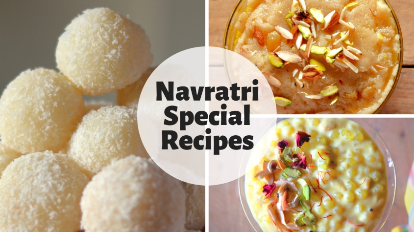 Navratri Sweets - Coconut Ladoos, Suji Ka Halwa and Sabudana Kheer