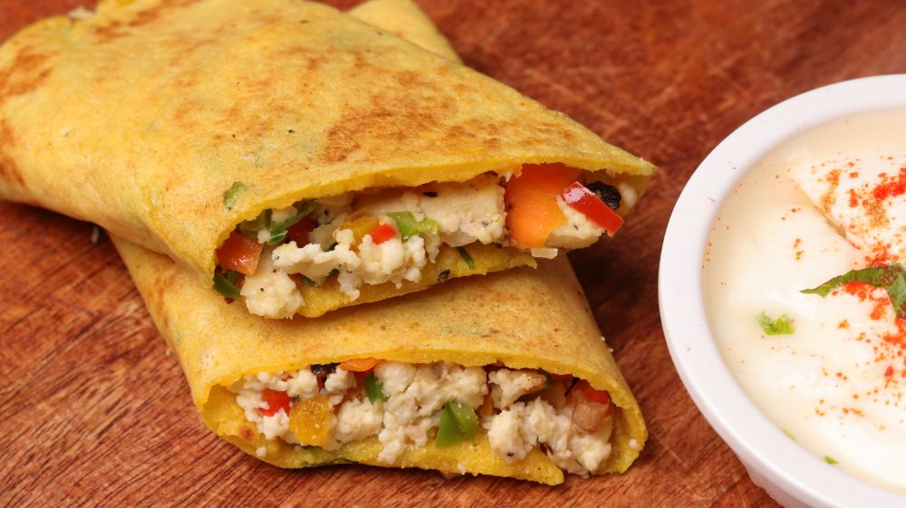 Paneer Stuffed Moong Dal Chilla